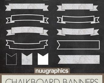 "Chalkboard banners clipart: ""CHALKBOARD BANNERS"" with chalkboard ribbons, chalk banners and chalkboard labels"