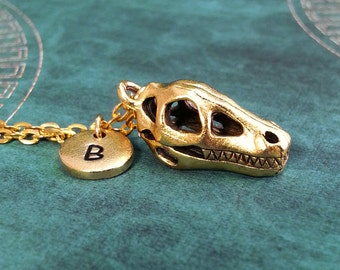 Dinosaur Skull Necklace, Gold Skull Charm, Personalized Necklace, Pendant Necklace, Dino Necklace, Engraved Necklace Fossil Keychain