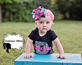Zebra Initial with Personalized Name - Girls Zebra Applique Shirt or Bodysuit & Matching Hair Bow Set