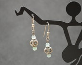 Aventurine beads surround  Sterling Silver 5 sided cage bead wire wrapped with Sterling Silver ear wire earrings.