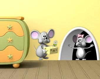 Wall decals mousehole A394 - Stickers trou de souris A394