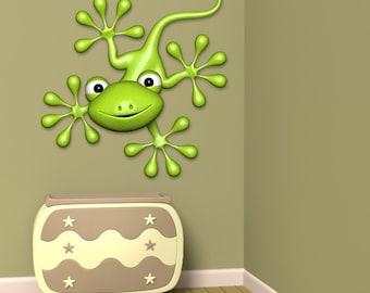 Wall decals green gecko A446 - Stickers gecko vert A446
