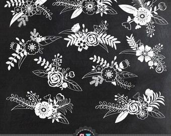 "Chalkboard Wedding Clipart ""WEDDING FLOWER"" clip art pack,Chalkboard clipart , Chalkboard Floral, Wedding invitation, Instant Download Wf039"