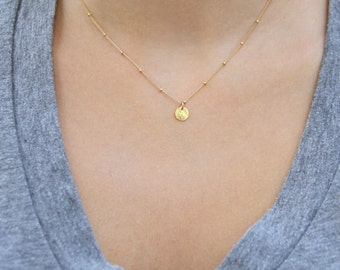 Gold Coin Necklace, Dainty Gold Necklace, Satellite Chain Necklace, Gold Disc Necklace, Simple Gold Necklace, Minimalist Necklace, Gold Fill