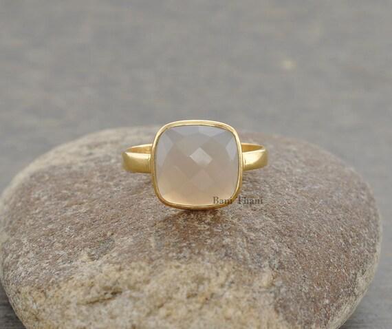 grey chalcedony ring bezel ring gemstone ring by banithani