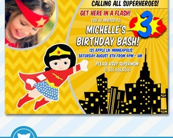 Wonder Woman Invitation for Superhero Birthday Party, Superhero Birthday Invitation- Printable Digital File