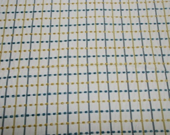 Teal and Yellow Dotted Plaid Upholstery Fabric - Upholstery Fabric By The Yard