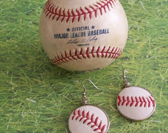 Baseball Earrings- Glass Back- Classic- Round 1 1/4 inch