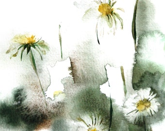 Watercolor Painting Art Print of Daisy Flowers, Green Abstract Floral Watercolour Wall Art