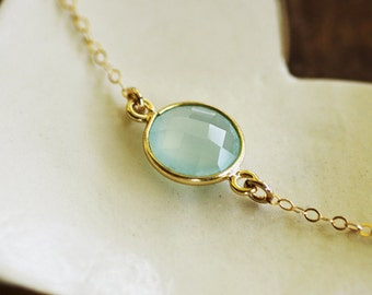 FREE SHIPPING - Blue Chalcedony Necklace - 14K gold filled chain - 24K over Sterling Silver bezel