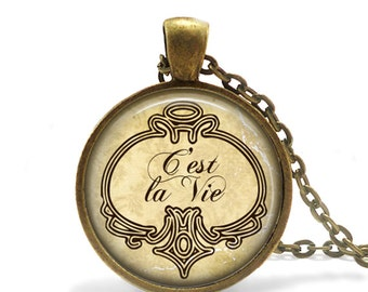 FREE SHIPPING C'est La Vie Necklace, That's Life Quote Necklace, French Quote Jewelry, Antique Bronze Necklace, Keepsake Vintage Style Latin
