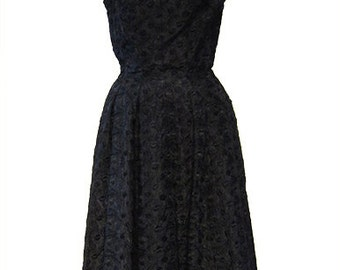 50 vintage dress in black jacquard fabric original american vintage