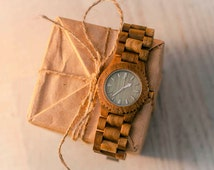 Ebony Wood Watch, Natural Wooden Wristwatch, by WOODEER, HandMade, Eco, Man, Woman, Quartz, New, Round, Gift, designed in Europe