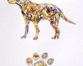 Pet Portrait - Watercolor Painting Original - Pet Silhouette - Paw Print - Dog Art - Custom Pet Portrait - Pet Memorial - Story of your pet