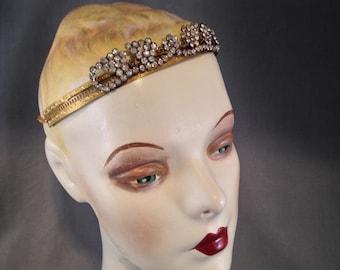 Authentic Edwardian, Gatsby Paste Rhinestone Headpiece, Head Band, Circlet, Bridal, Grape, Wine Motif