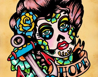 Day of the dead nautical beauty hope old school tattoo for Old school day of the dead tattoo