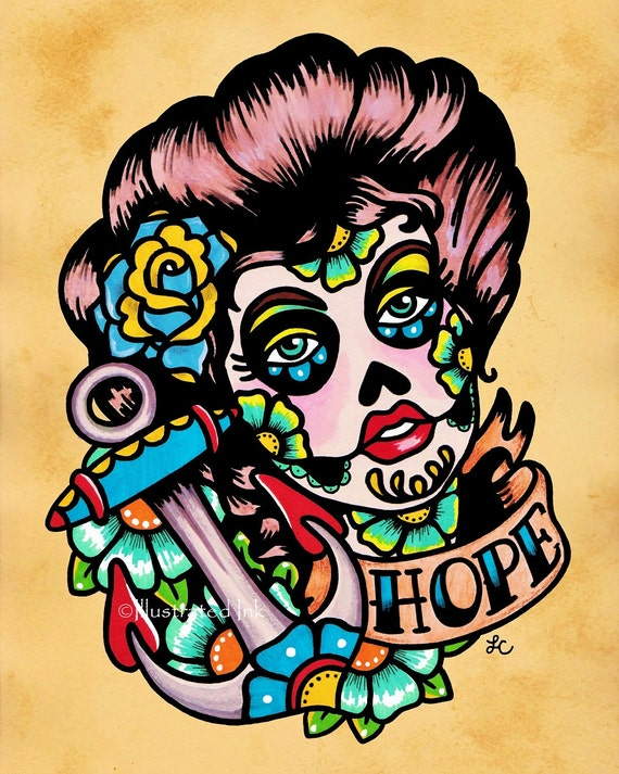 Unavailable listing on etsy for Old school day of the dead tattoo