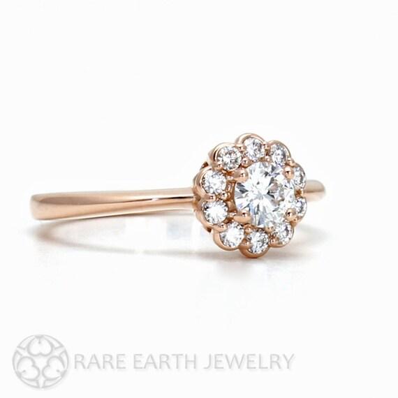 rose gold diamant verlobungsring halo cluster 14k von rareearth. Black Bedroom Furniture Sets. Home Design Ideas