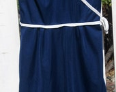 Vintage Summer Dress, 1960s Navy and White Sleeveless Faux Wrap Front Dress