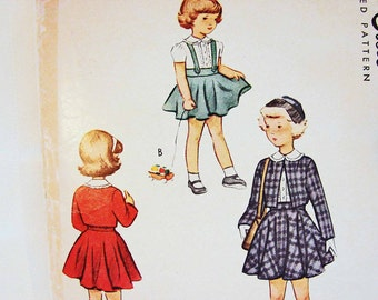 1940s Girls Dress Pattern size 8 Girls 3 Piece Bolero Jacket, Blouse, Suspender Skirt Sewing Pattern