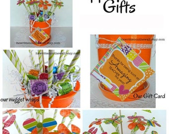 Teacher Appreciation Gift / Gift Idea for Teacher / Hershey Nugget Wraps / Flags/ Gift Cards / Paper Flower Arrangement / Candy Bouquet