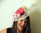 Cream sinamay fascinator with pink and wine flowers ivory wedding fascinator hat