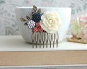 Large Cream Ivory Rose, Coral, Navy Blue, Rhinestone, Diamante, Leaf Sprig Hair Comb. Bridesmaid Gifts. Coral Blue Vintage Inspired Rustic