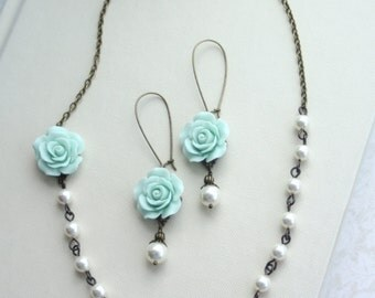 Mint Rose Flower Ivory Pearl Antiqued Brass Necklace, Flower and Earring Set. Bridesmaids Gift Set. Cottage Rustic Country Wedding. Friends.