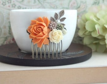 Orange Fall Vintage Inspired Ivory Rose, Brown, Olive Green Daisy Mum Flower Hair Comb. Bridesmaids Gifts. Wedding Bridal Autumn Rustic Clip