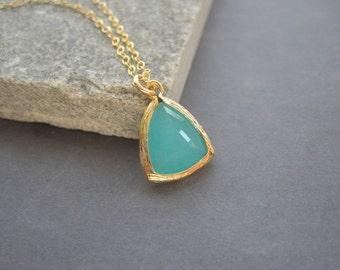 Gold  Aqua Necklace - Aqua Glass - Necklace - Triangle - Summer Jewelry