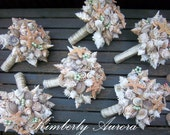 Beach Wedding Bouquets for Bride and Wedding Party (Sandy Sugar Starfish Style). Made to Order with Custom Details