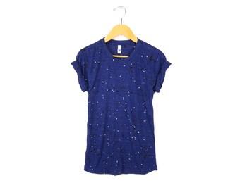 """Night Sky Tee - Original """"Splash Dyed"""" Boyfriend Fit Crew Neck T-shirt with Rolled Cuffs in Heather Navy - Women's Size S-3XL"""