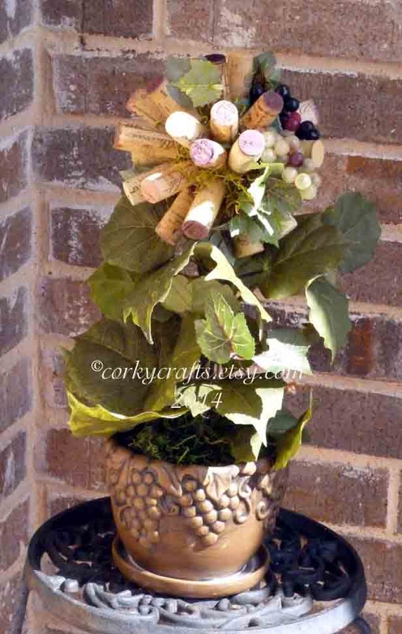 SALE   Wine cork topiary centerpiece  perfect floral alternative for parties/weddings/wine tastings