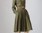 Army Green dress, Shirt dress, mid calf dress, linen dress, women dresses, midi dress, long sleeve dress, Spring dress, summer dress (797)
