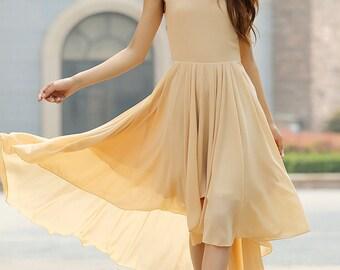 Irregular bridesmaid chiffon midi dress sleeveless dress(924)