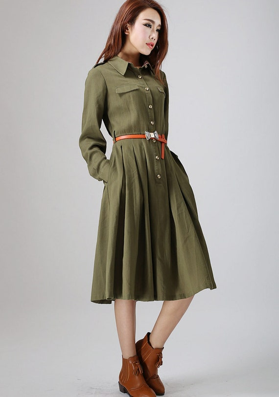 Army Green dress, Shirt dress, mid calf dress, linen dress, women dresses, midi dress, long sleeve dress, Spring dress, summer dress (797)
