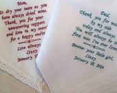 Custom Parents of the Bride Wedding Handkerchiefs SET of 2 Embroidered Personalized Hankys-Mother of the Bride-Father of the Bride