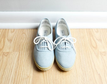 Shoes Sneakers / Denim Light Blue / Oxford Canvas Jute / Fourth of July / Preppy Granny / 90s Vintage / Size 7 / Euro 37.5