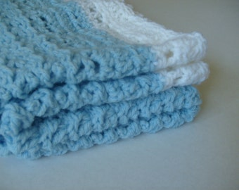 baby blanket crochet handmade in blue and white - crochet baby blanket blue and white - handmade blue baby blanket