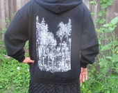 Black Hoodie XL Forest Wins pullover - Extra Large green anarchy, anarchist hoody, drawing punk shirt hoody sweater hooded sweatshirt hood