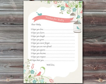 Baby Shower Game, Coral and Teal, Wishes for Baby Card, Birdcages, Printable Wishes for Baby card