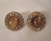 Vintage / HOBE / Earrings / Clip / Murano Glass / Rhinestones / Designer / Signed / Gold / Embedded / Italian / Retro / Rare / Accessories