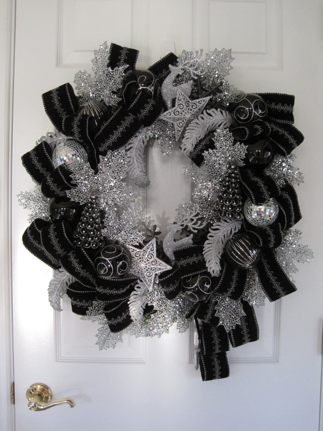 BLACK SILVER Luxurious Christmas Ornaments Velvet Ribbon