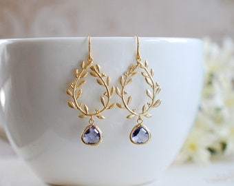 Laurel Wreath Earrings, Amethyst Purple Earrings, Purple Dangle Earrings, Gold Chandelier Earrings, Purple Wedding Bridesmaid Earrings