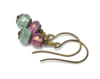 Pink Stone Earrings, Green Stone Earrings, Faceted Quartz Earrings, Dangle Earrings,