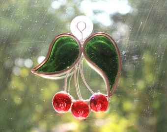 Cherry Red Stained Glass Suncatcher
