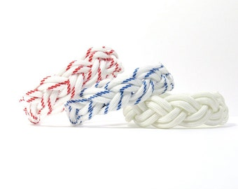 Pick Your Color, Racing Whites, Turks Head Sailor Paracord Rope Bracelet, Nantucket Surf Beach, Traditional Nautical, Ship Knot, Summer