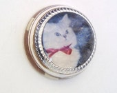 Vintage Cat Paperweight / Glass Paper Weight / Cat Decor Desk Accessory - White Kitten
