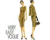 Vogue V8146 Sheath Dress and Jacket Pattern Uncut Vintage Style Day to Evening Cropped Flared Swing Jacket Very Easy Womens Sewing Patterns