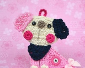 Crochet puppy/dog applique / ornament - crochet pattern, DIY
